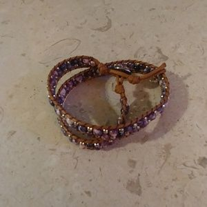Purple Beaded Leather Wrap Bracelet